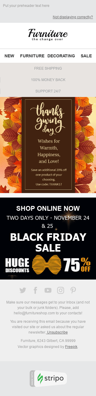 "Thanksgiving Day Email Template ""The Magnificence of Fall"" for Furniture, Interior & DIY industry mobile view"