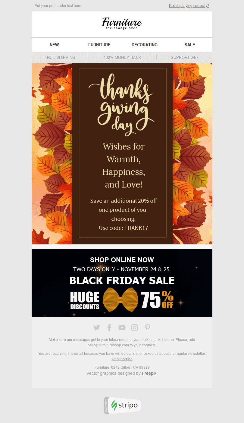 "Thanksgiving Day Email Template ""The Magnificence of Fall"" for Furniture, Interior & DIY industry desktop view"
