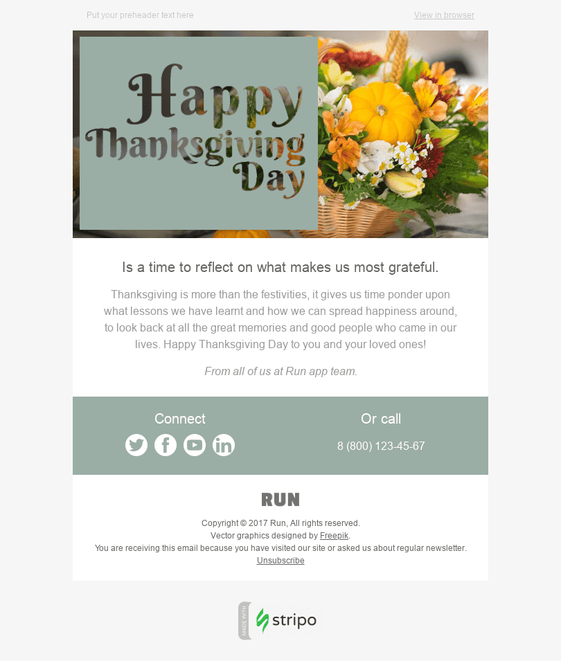 "Thanksgiving Day Email Template ""Families Get-Together"" for Software & Technology industry desktop view"
