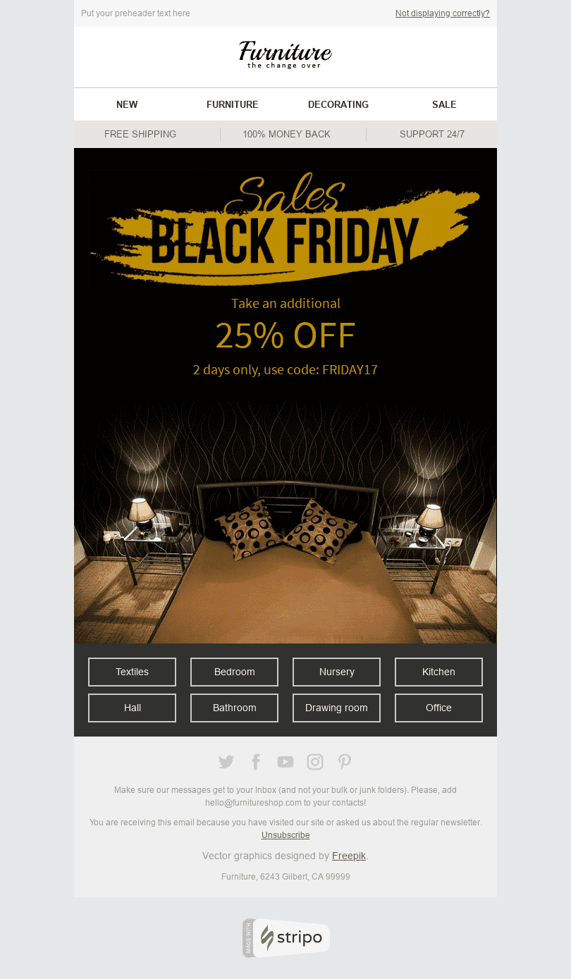 "Black Friday Email Template ""Golden Age"" for Furniture, Interior & DIY industry desktop view"