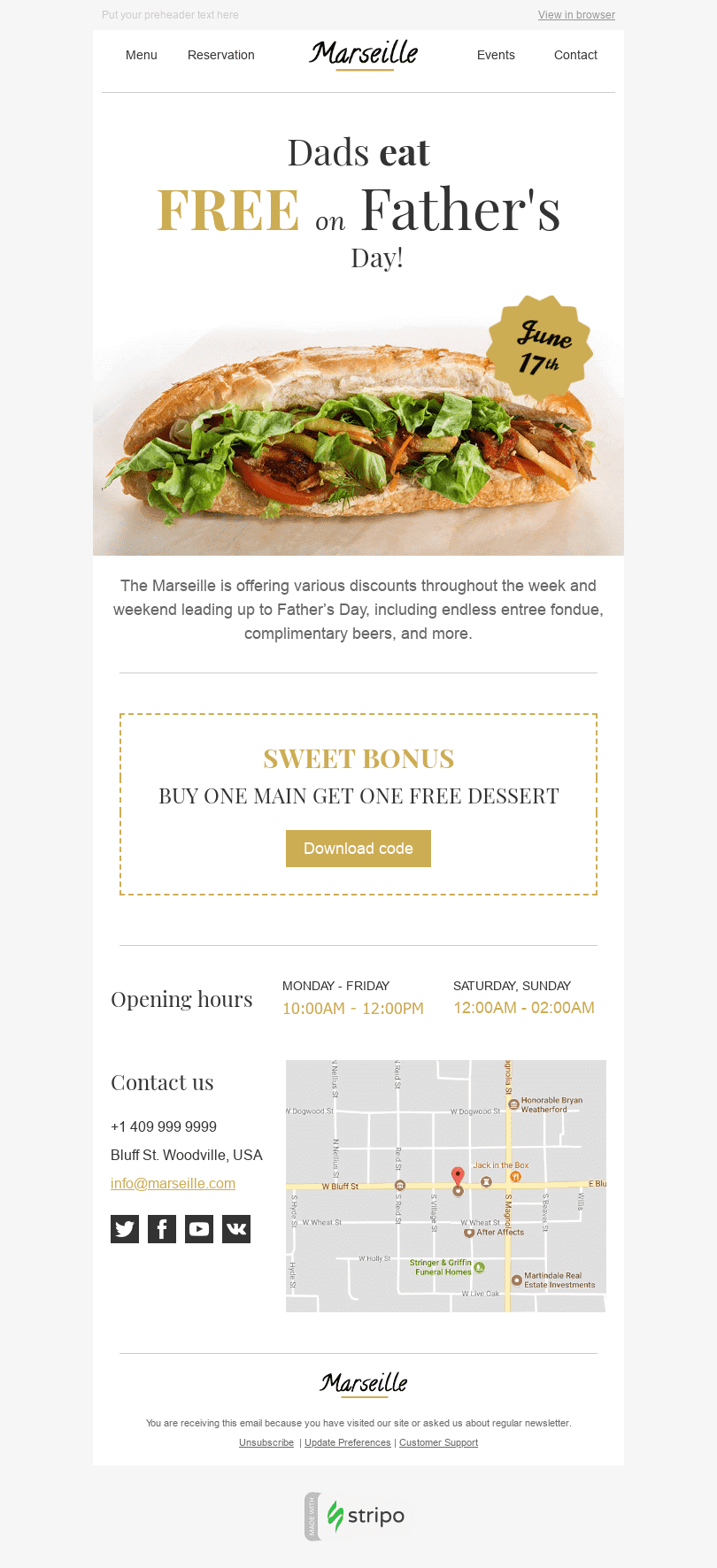 "Father's Day Email Template ""Sweet Bonus"" for Restaurants industry desktop view"