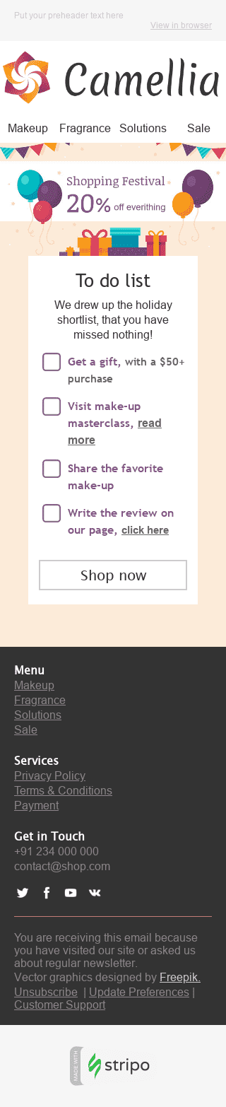 "Global Shopping Festival Email Template ""Holiday Shortlist"" for Beauty & Personal Care industry mobile view"
