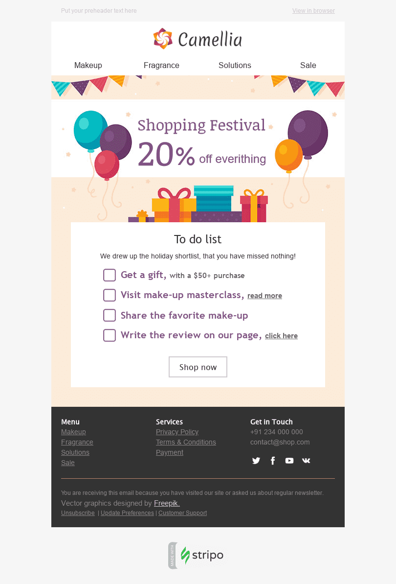 "Global Shopping Festival Email Template ""Holiday Shortlist"" for Beauty & Personal Care industry desktop view"