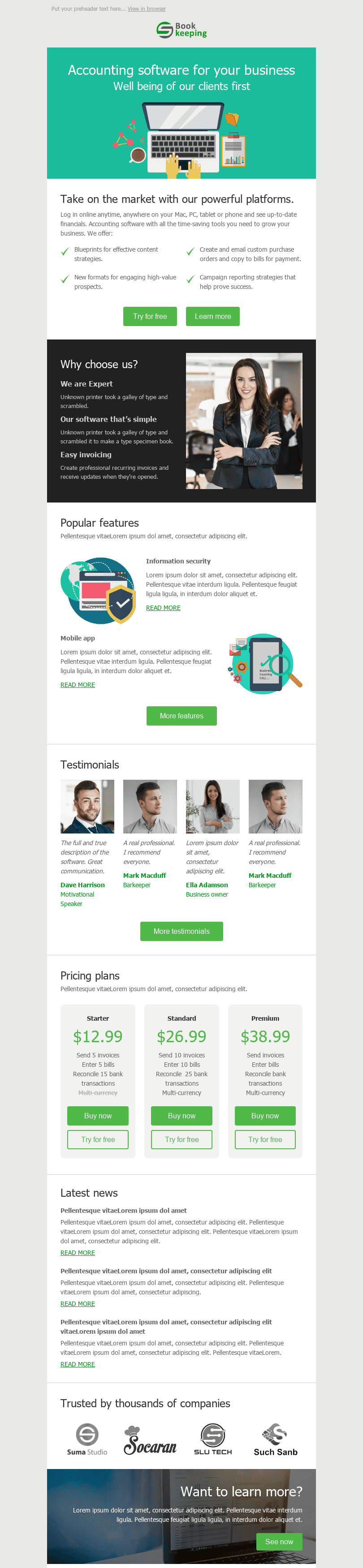 "Promo Email Template ""Personal Accountant"" for Finance industry desktop view"
