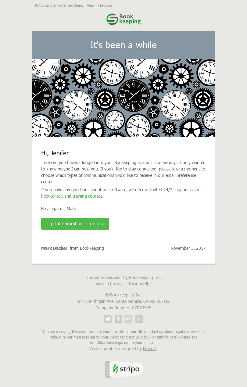 "Retention & Reactivation Email Template ""Time is Money"" for Finance industry desktop view"