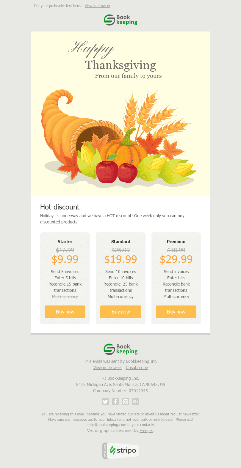 "Thanksgiving Day Email Template ""Horn of Plenty"" for Finance industry desktop view"