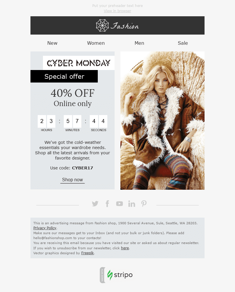 "Cyber Monday Email Template ""Cold Weather"" for Fashion industry desktop view"
