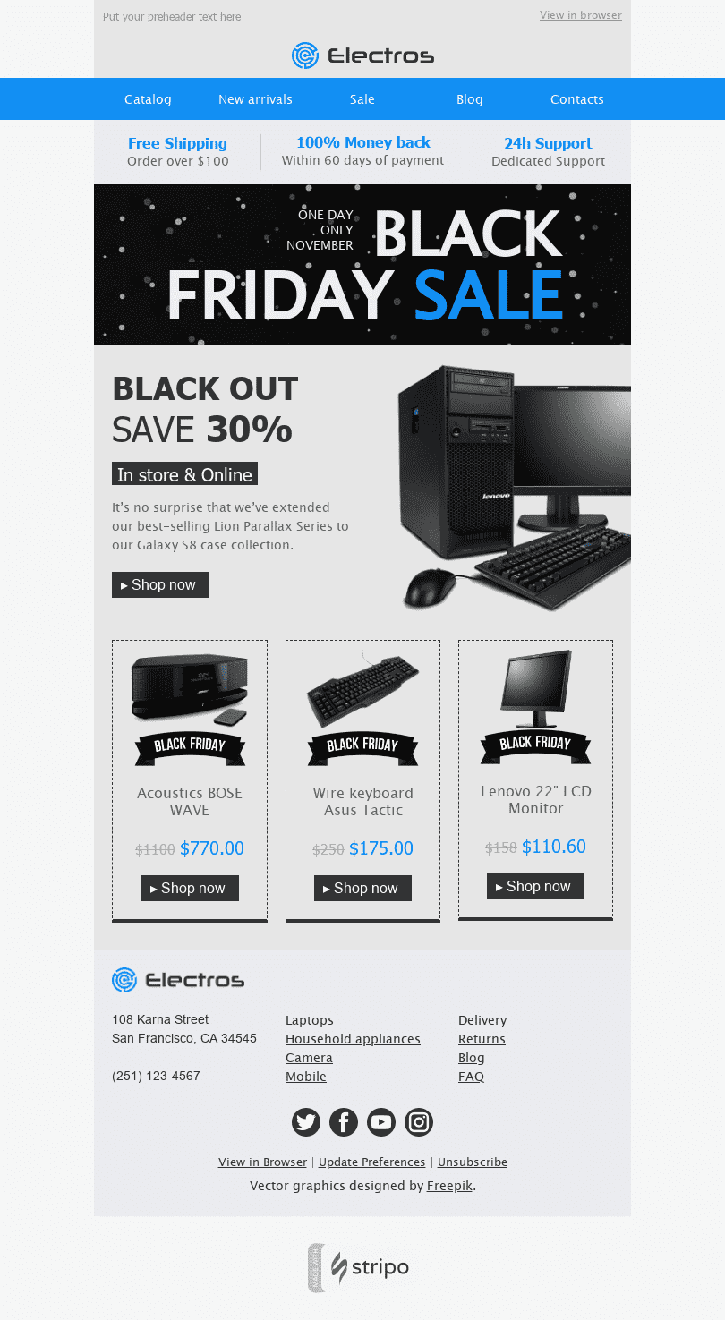 "Black Friday Email Template ""Price Madness"" for Gadgets industry desktop view"