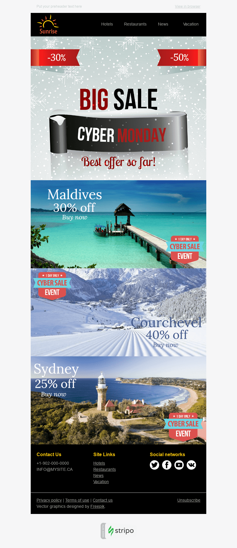 "Cyber Monday Email Template ""Perfect Trip"" for Tourism industry desktop view"