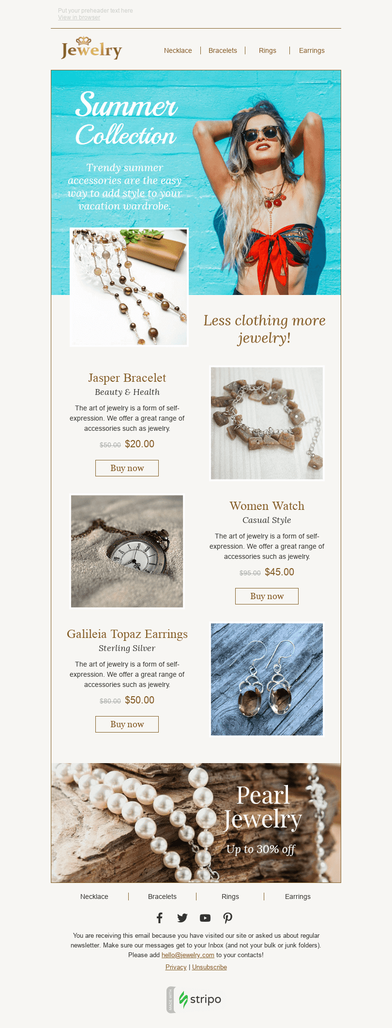 Stripo Jewelry Trigger newsletter New Collection Stylish Summer email web