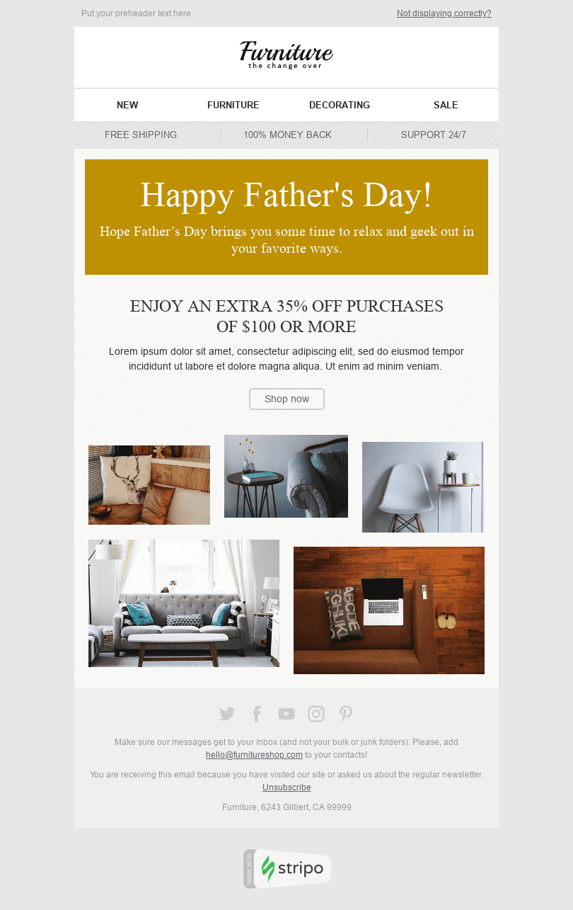 Stripo Furniture Home Decor Holiday newsletter Happy Father's Day Time to Relax email web