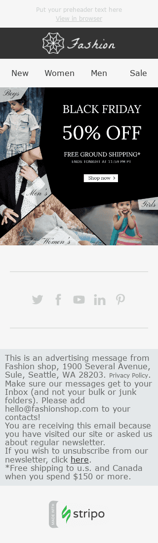 "Black Friday Email Template ""Stylish Family"" for Fashion industry mobile view"