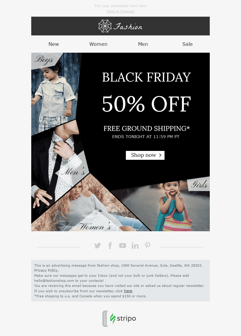 "Black Friday Email Template ""Stylish Family"" for Fashion industry desktop view"