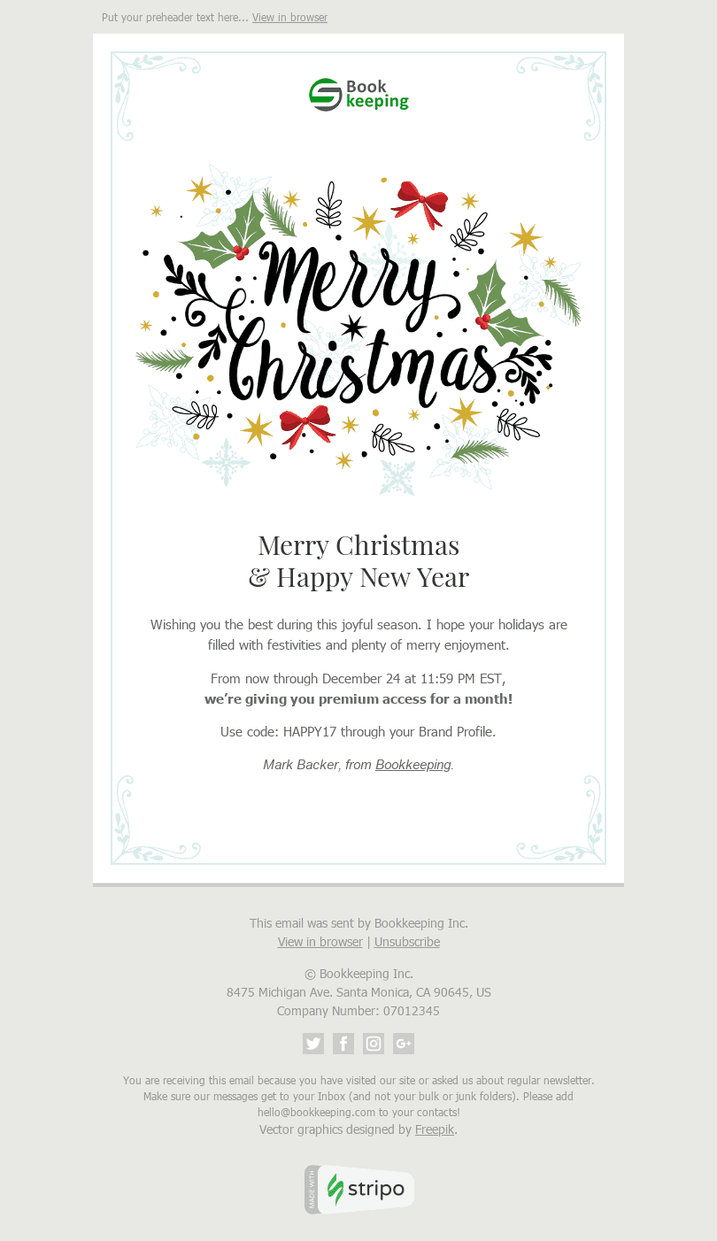 Stripo Finance Holiday newsletter Christmas Sincere Congratulations email web