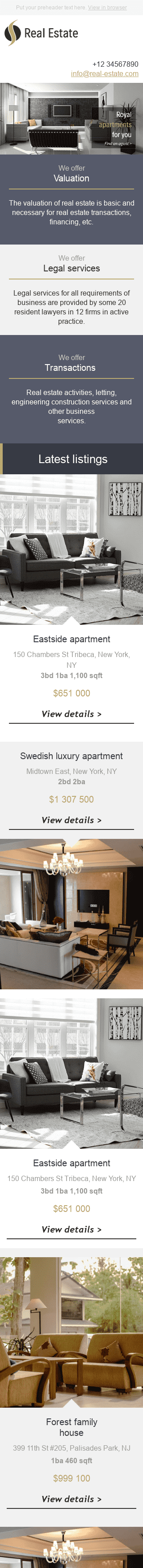 "Promo Email Template ""Royal Apartments"" for Real Estate industry mobile view"