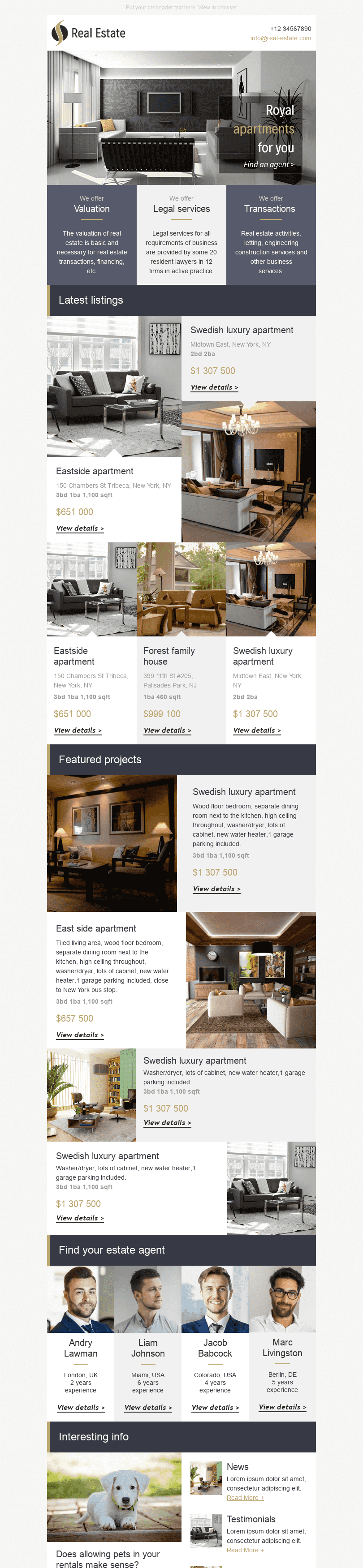 "Promo Email Template ""Royal Apartments"" for Real Estate industry desktop view"