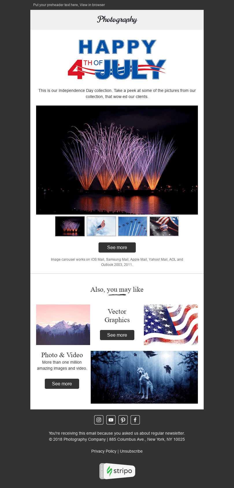 "Independence Day Email Template ""Amazing Images"" for Photography industry desktop view"