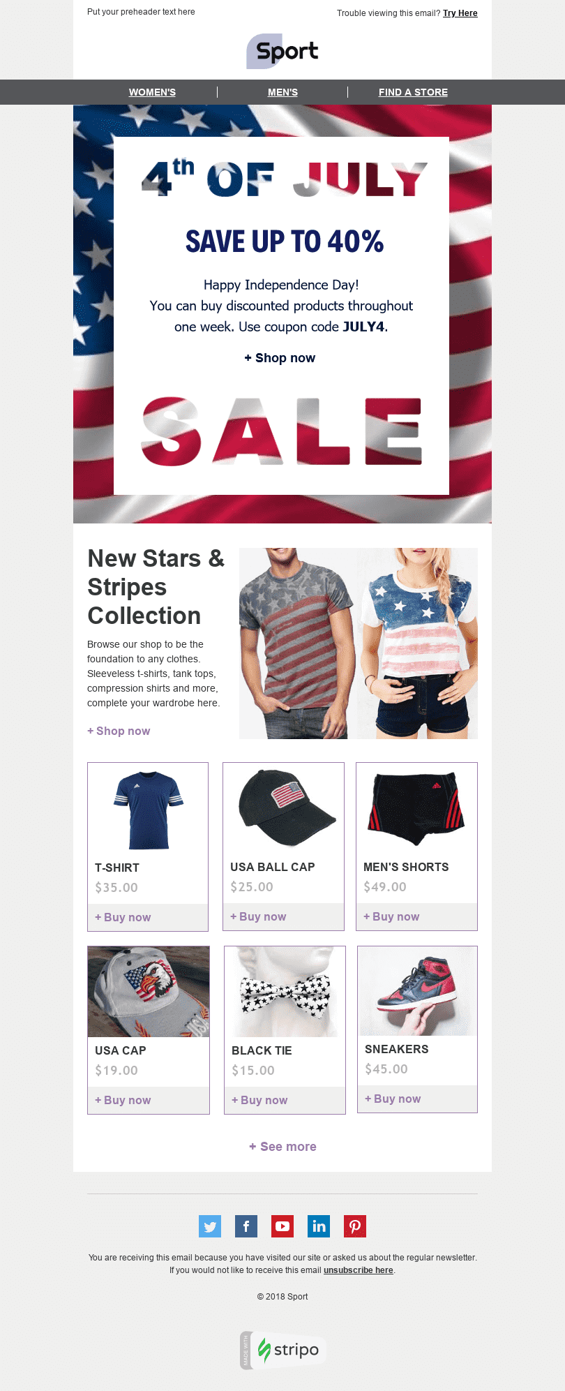 Stripo Sport Holiday newsletter Happy Independence Day Stars Stripes email web