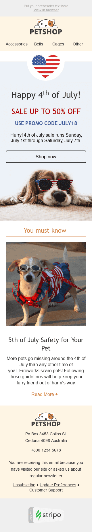 "Independence Day Email Template ""Stylish Dog"" for Pets industry mobile view"