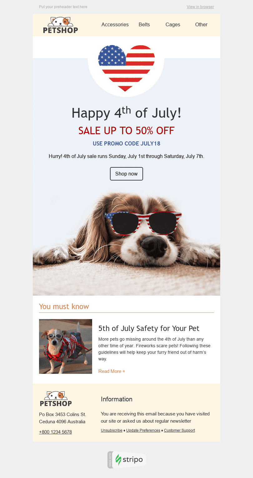 "Independence Day Email Template ""Stylish Dog"" for Pets industry desktop view"
