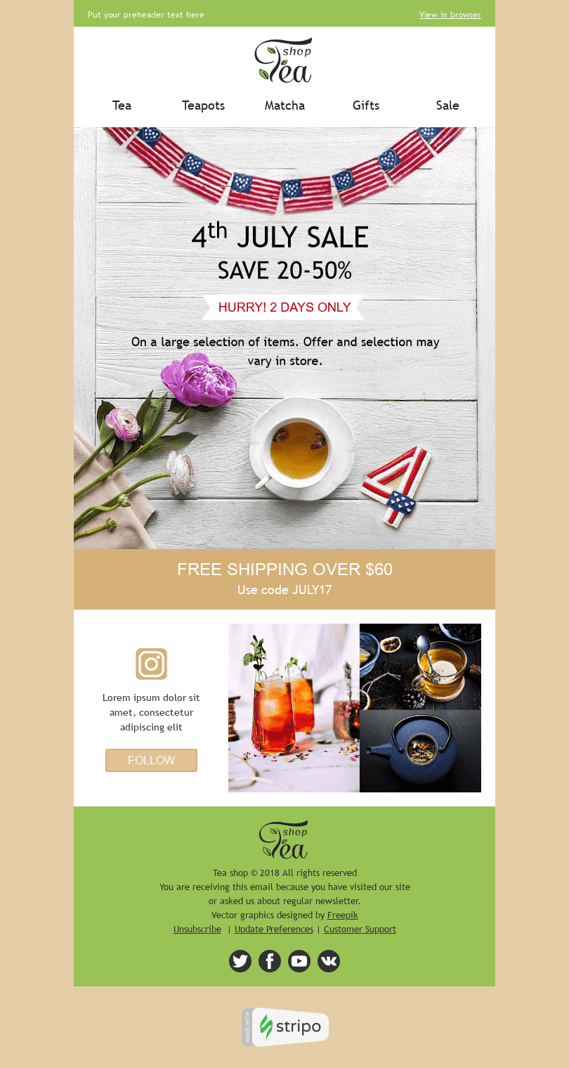 "Independence Day Email Template ""Favorite Tea"" for Beverages industry desktop view"
