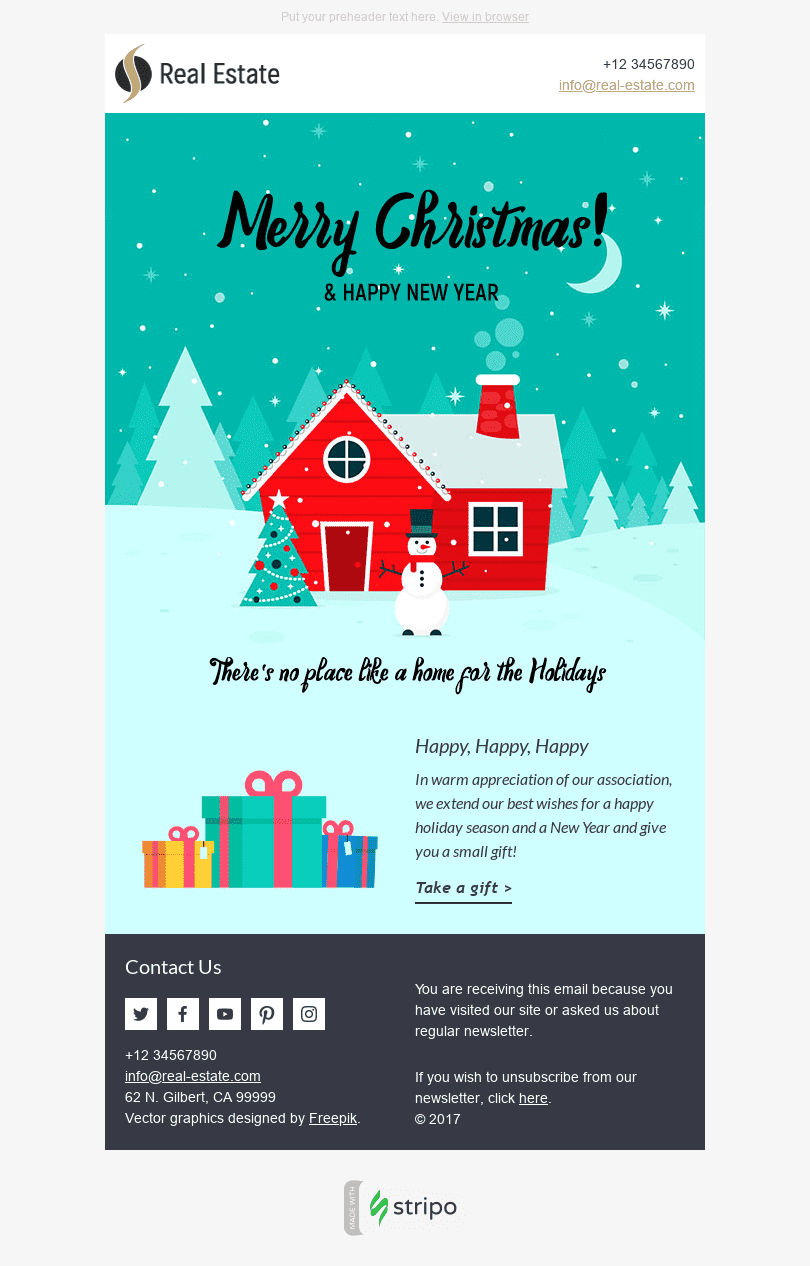 "Christmas Email Template ""Lovely Night"" for Real Estate industry desktop view"