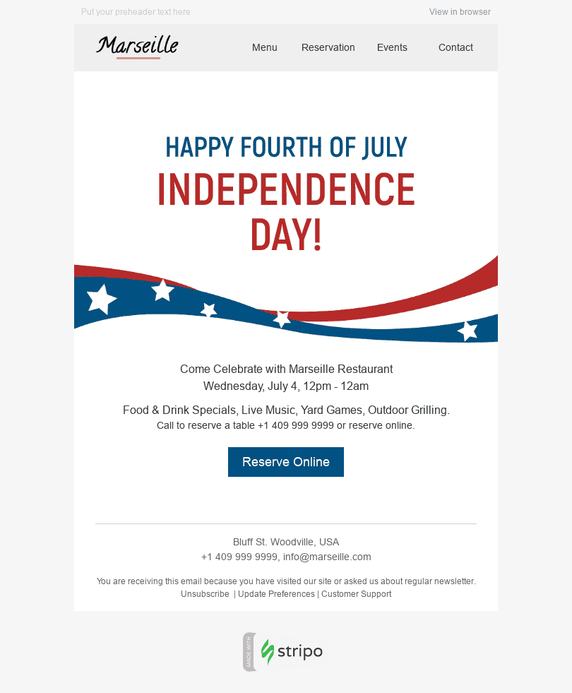 "Independence Day Email Template ""Tasty Food"" for Restaurants industry desktop view"