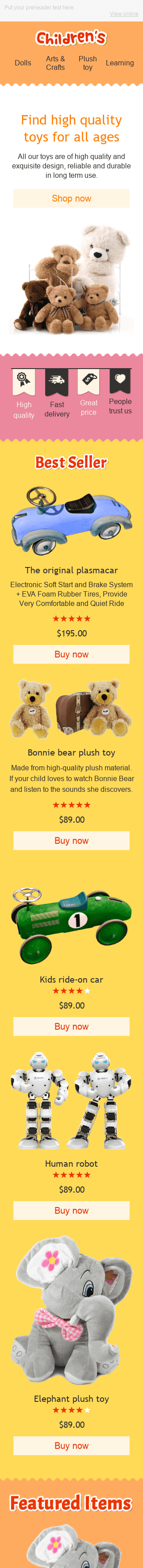 "Promo Email Template ""Funny Toys"" for Kids Goods industry mobile view"