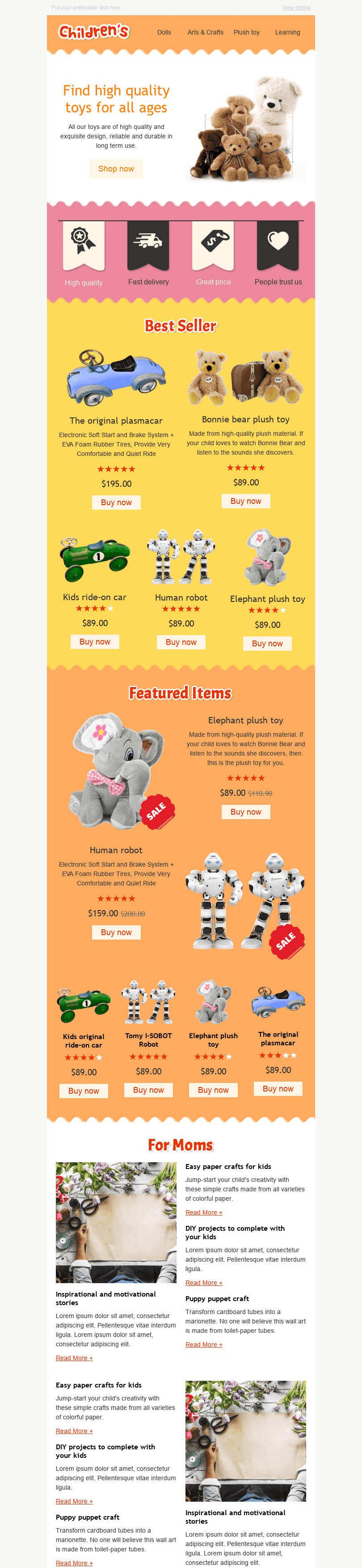 "Promo Email Template ""Funny Toys"" for Kids Goods industry desktop view"