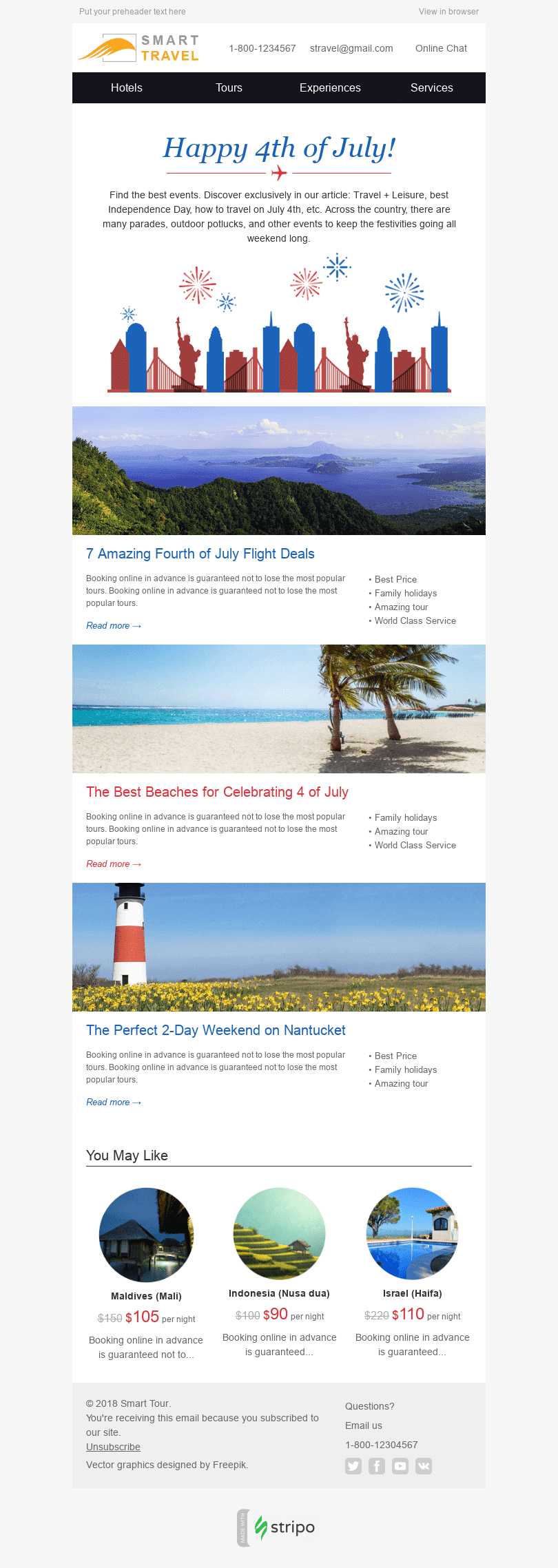 Stripo Tourism Holiday newsletter Happy Independence Day Explore America email web