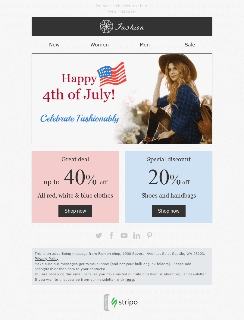 "Independence Day Email Template ""Great Deal"" for Fashion industry desktop view"
