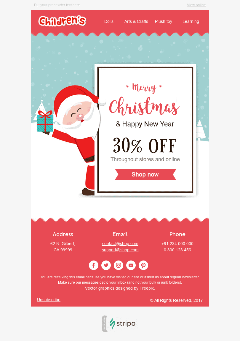 Stripo Children Holiday newsletter Christmas Kind Santa Claus email web