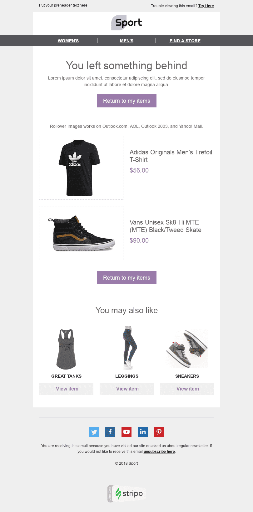 "Interactive Email Template ""Good Clothes"" for Sports industry desktop view"