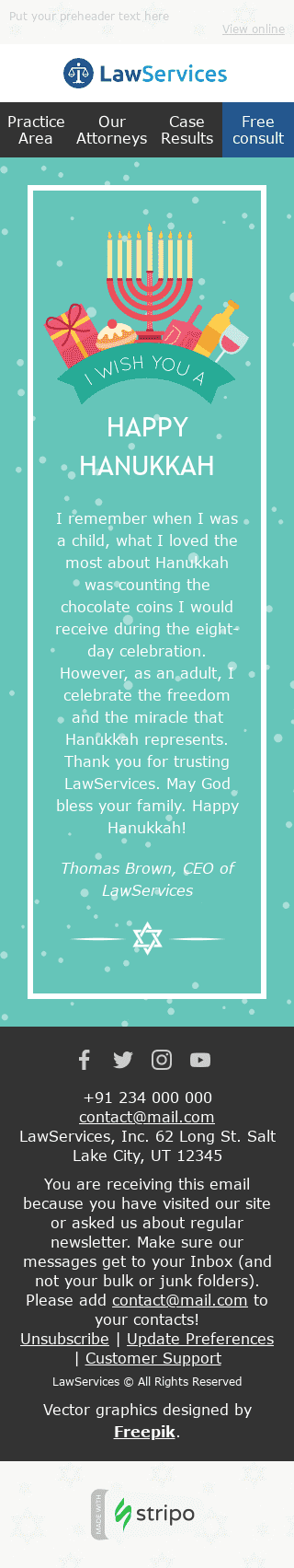 "Hanukkah Email Template ""Festival of Lights"" for Legal industry mobile view"
