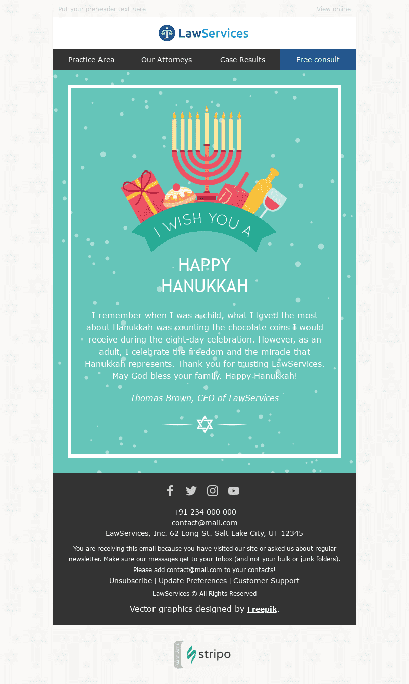 "Hanukkah Email Template ""Festival of Lights"" for Legal industry desktop view"