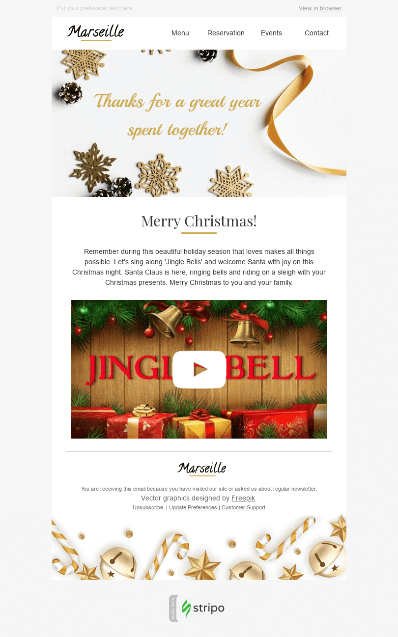 Stripo Restaurants Holiday newsletter Christmas Jingle Bells email web
