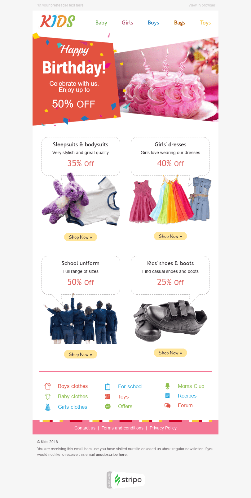 "Birthday Email Template ""Special Discounts"" for Kids Goods industry desktop view"