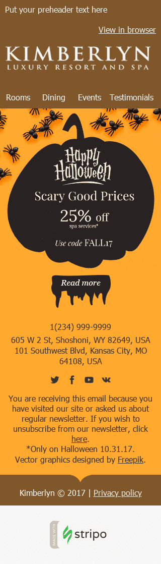 "Halloween Email Template ""Beautiful Pumpkin"" for Hotels industry mobile view"