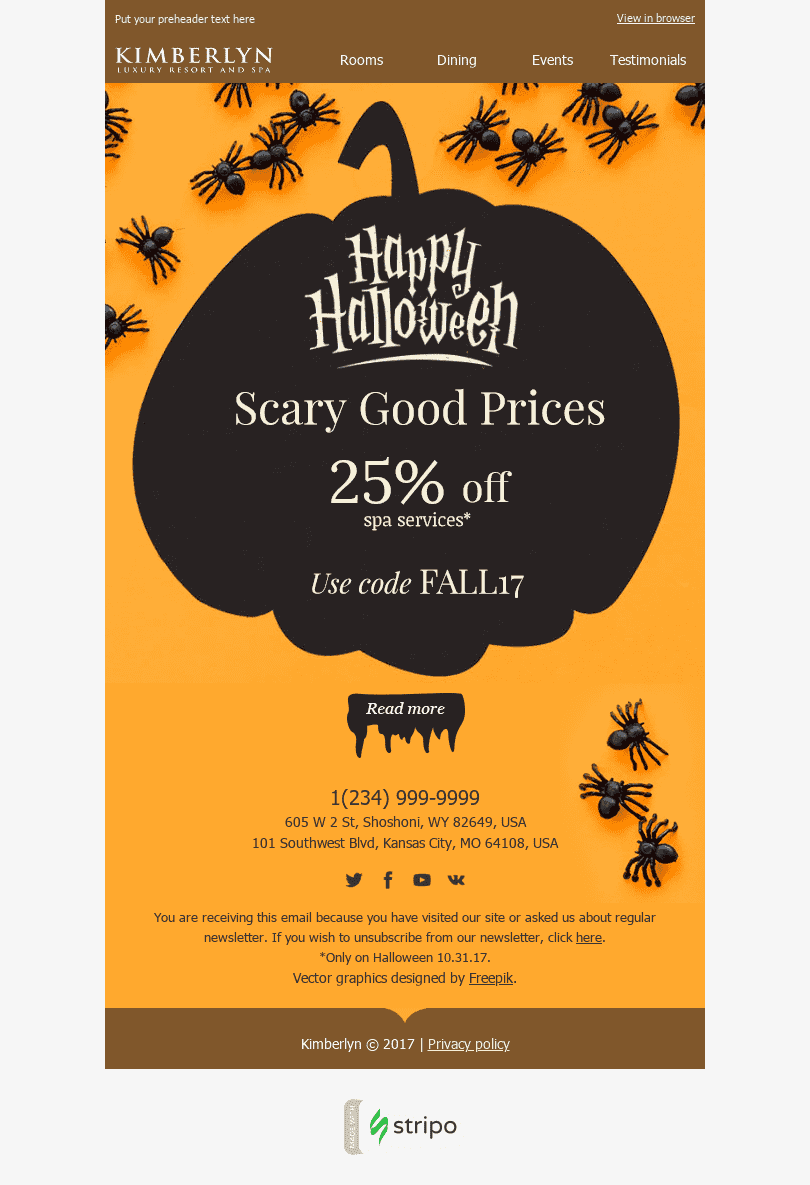 "Halloween Email Template ""Beautiful Pumpkin"" for Hotels industry desktop view"
