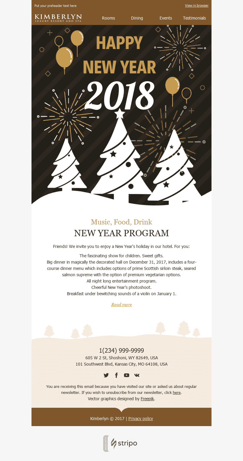 Stripo Hotels Holiday newsletter New Year The Invitation email web