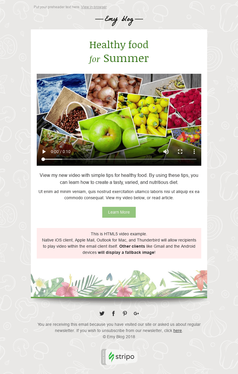 "Interactive Email Template ""Useful Video"" for Publications & Blogging industry desktop view"