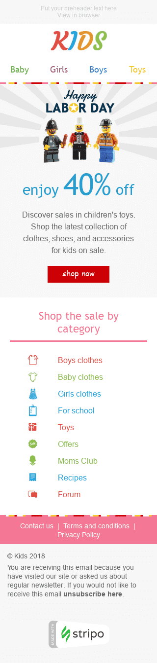 "Labor Day Email Template ""Everything On Sale"" for Kids Goods industry mobile view"