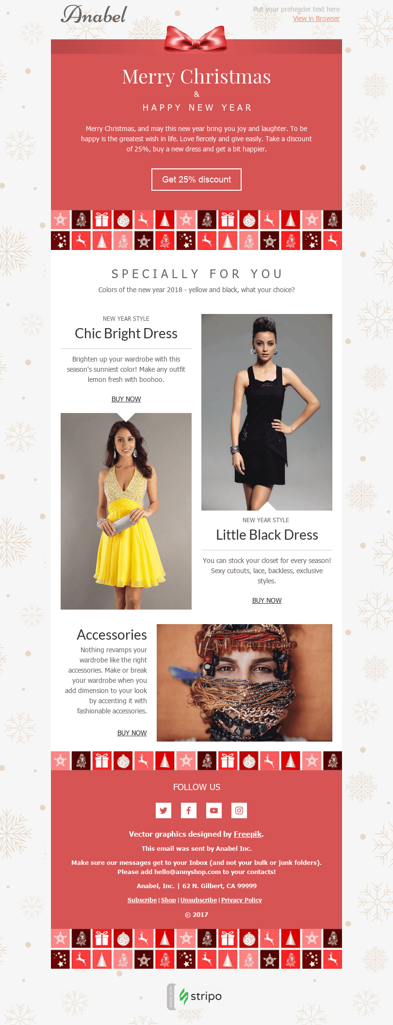 "Christmas Email Template ""Cocktail Dresses"" for Fashion industry desktop view"