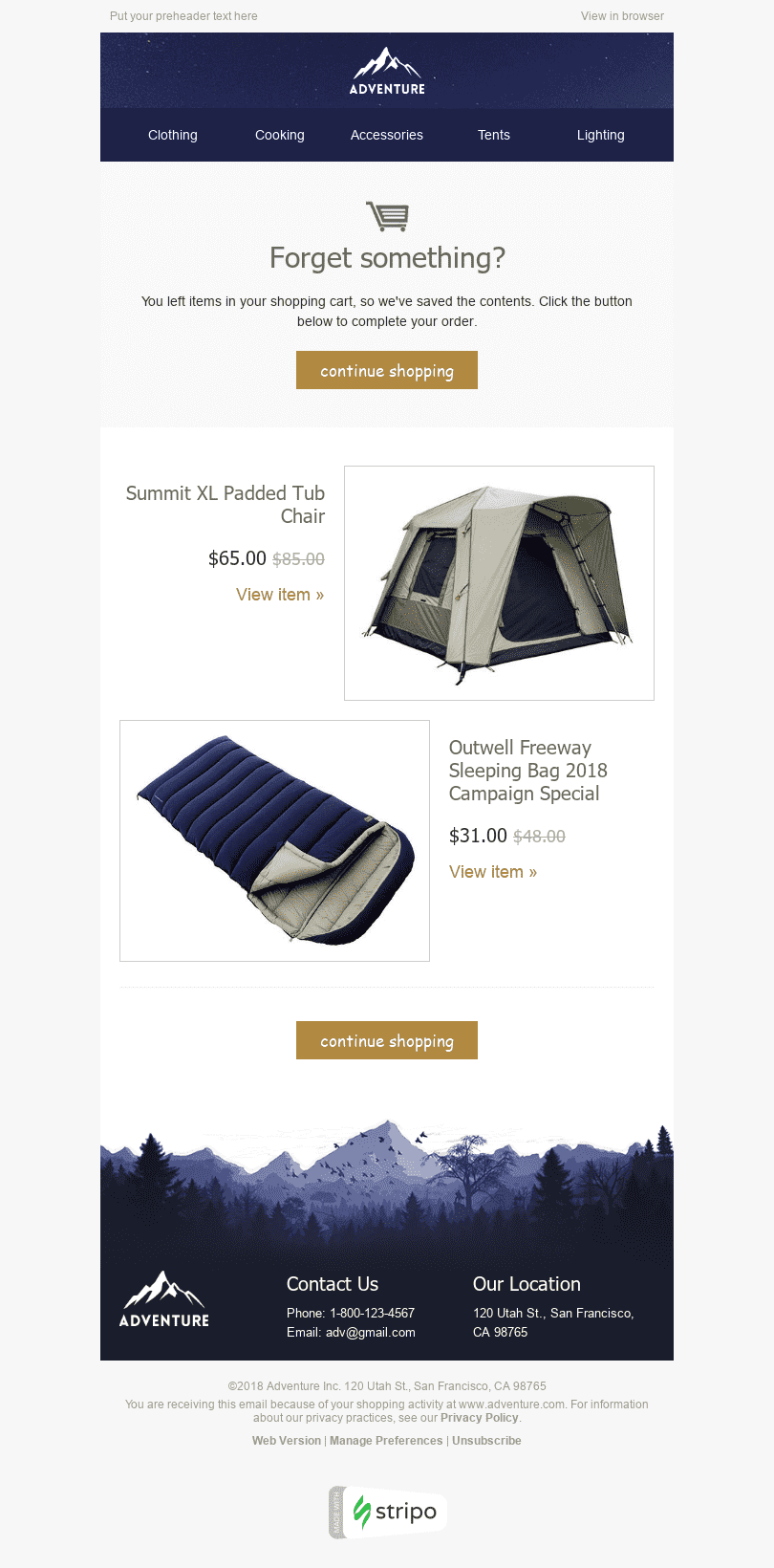 "Abandoned Cart Email Template ""Comfortable Rest"" for Tourism industry desktop view"
