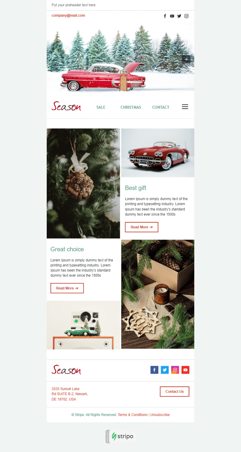 Сhristmas Email Template «Holiday Season» for Gifts & Flowers industry desktop view
