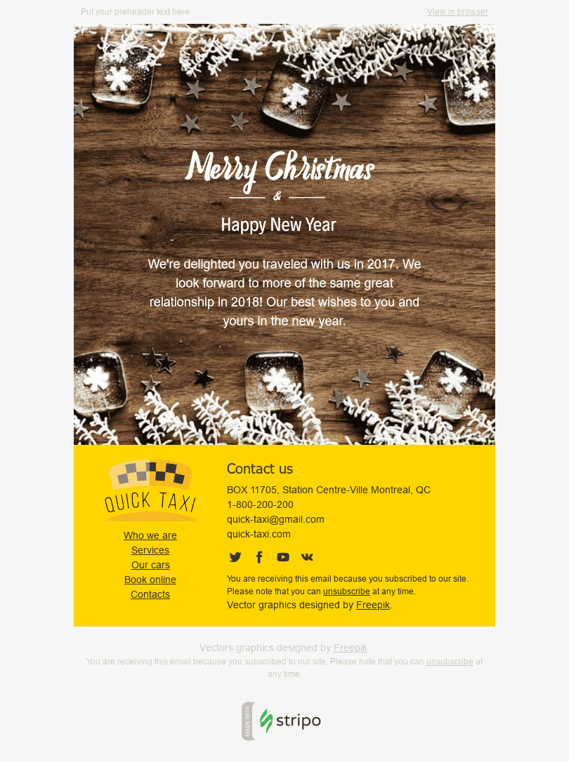 "Christmas Email Template ""White Snowflakes"" for Auto & Moto industry desktop view"