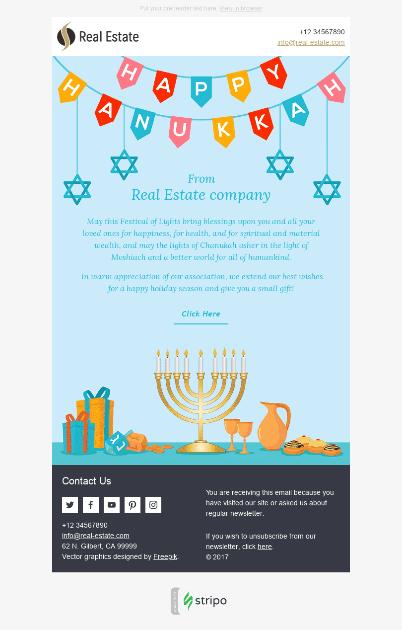Stripo Real Estate Holiday newsletter Hanukkah Warm Wishes email web