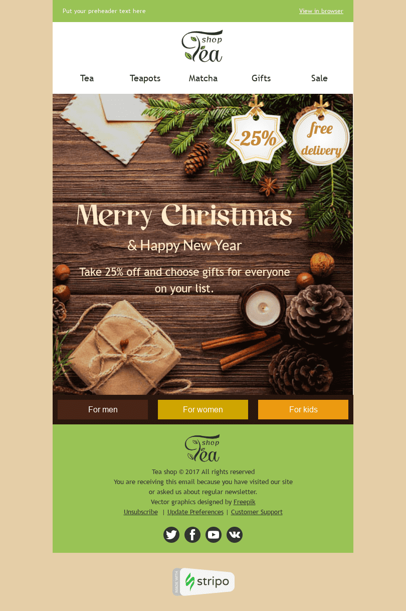 "Christmas Email Template ""Spicy Aroma"" for Beverages industry desktop view"
