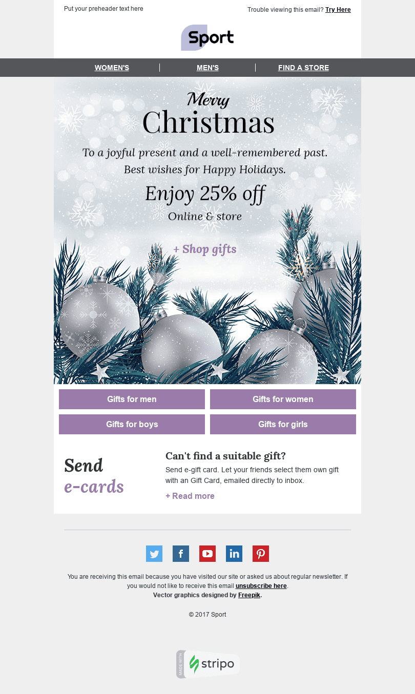 "Christmas Email Template ""Magic Time"" for Sports industry desktop view"