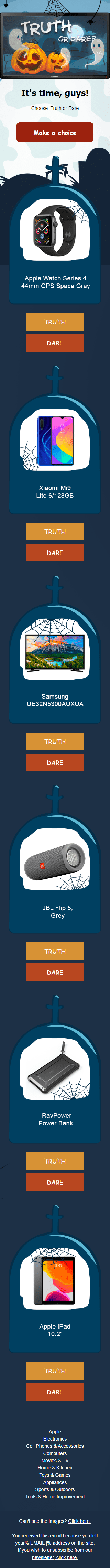 Halloween Email Template «Make Your Choice: Truth Or Action!» for Gadgets industry mobile view